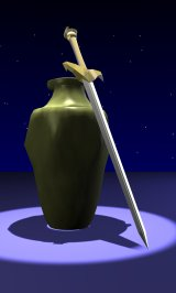 Results of a basic modeling tutorial in Blender - a sword and an amphora