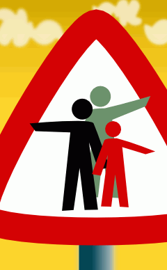 Confused pointing figures on a road sign