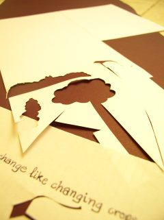 Pop up shapes cut straight into white craft paper