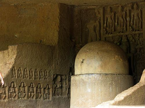 Stupa and relief sculpture - Kanheri Caves