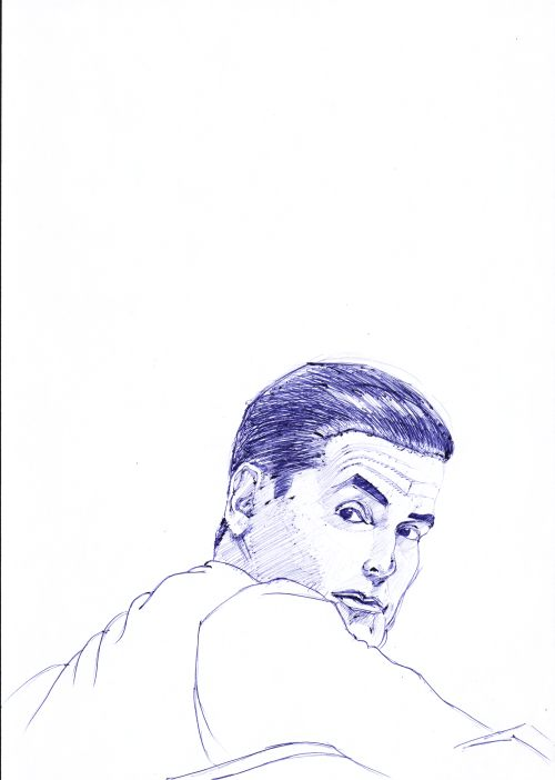 Pen Drawings - portrait of man looking over his shoulder