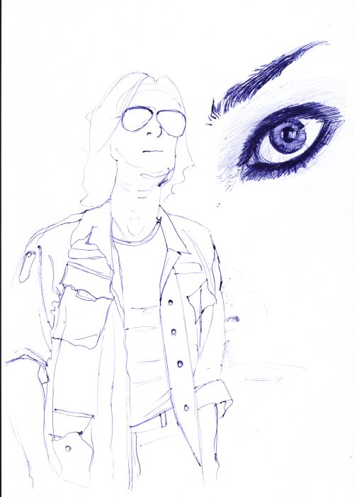 Pen Drawings - man in shades and army jacket, close-up of woman's eye