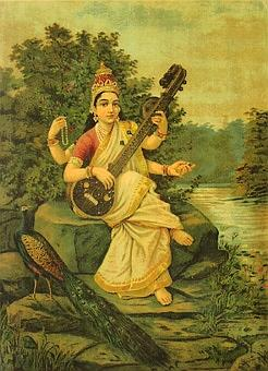 Saraswati -Goddess of Knowledge - by Raja Ravi Varma