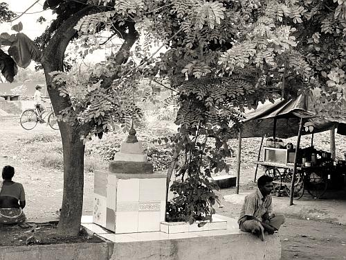 Shrine under a tree - Street Photos