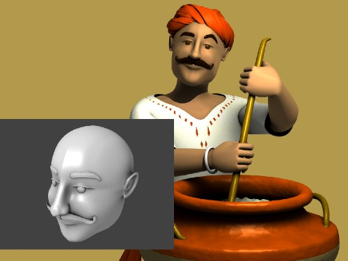 Chef mascot in 3D for Puranmal Restaurant