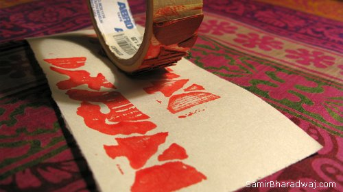 Block printing with paint