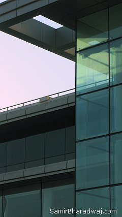 Glass building in shadows - Widescreen photo
