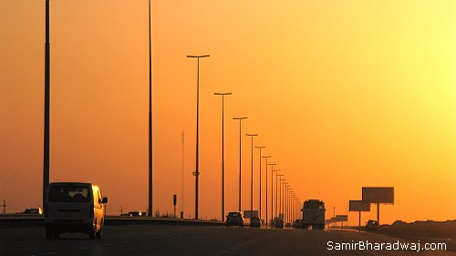 Sunset on the highway - Widescreen photo