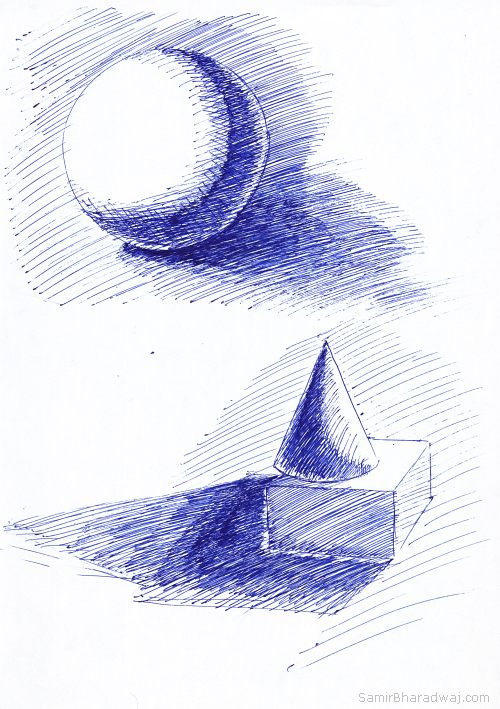 Pen Drawings - Chiaroscuro geometric objects test