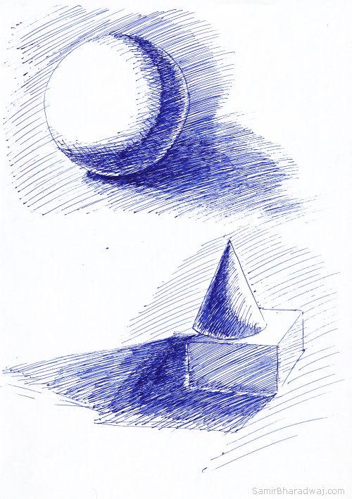 Pen drawings chiaroscuro geometric objects test