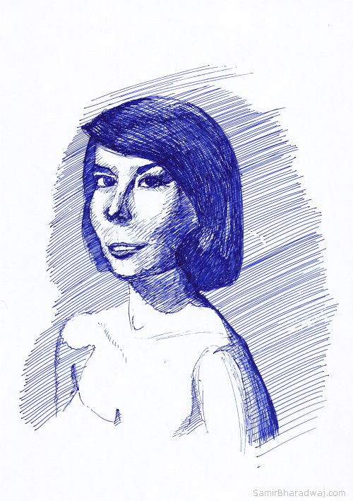 Pen Drawings - Portrait of a woman in an off-shoulder dress