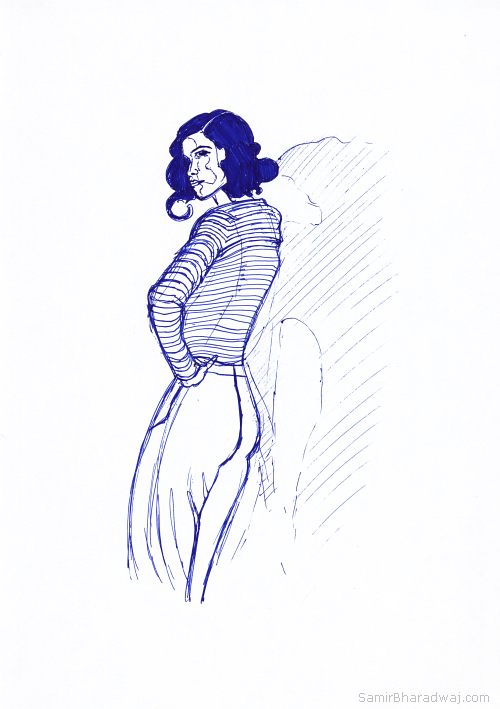 Pen Drawings - Woman in a striped cardigan and pants