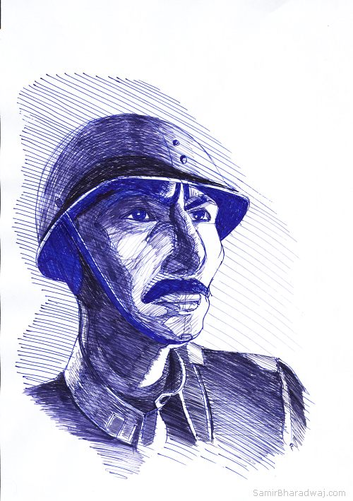 Pen Drawings - Portrait of a soldier