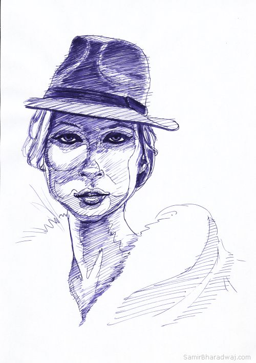 Pen Drawings - Portrait of a woman in a hat and furs