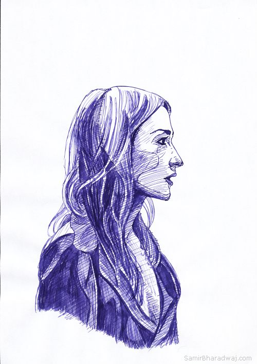 Pen Drawings - Blonde woman wearing a jacket in profile