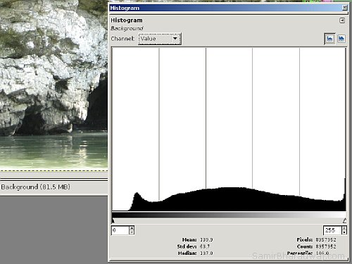 Image histogram - Overexposed Photo