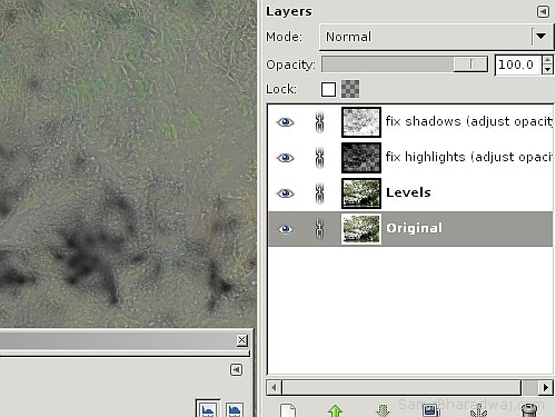 Layers to fix shadows and highlights - Overexposed Photo