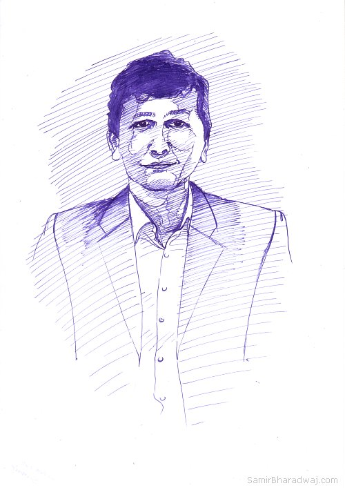 Pen Drawings - Portrait of a man in a business suit