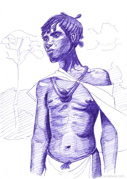 Pen Drawings - African tribesman