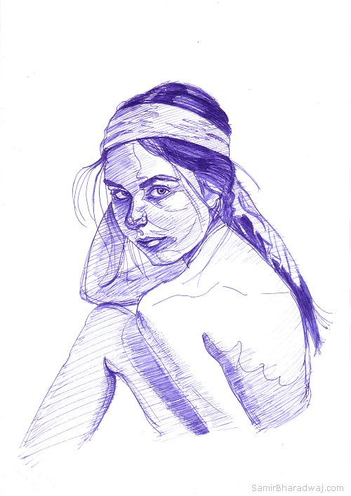 Pen Drawings - Nude woman looking over her shoulder