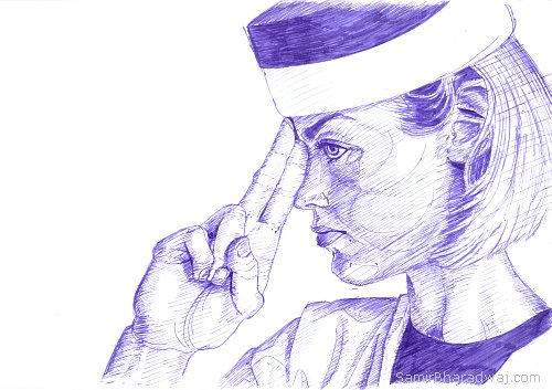 Pen Drawings - Female Navy cadet in a hat in profile