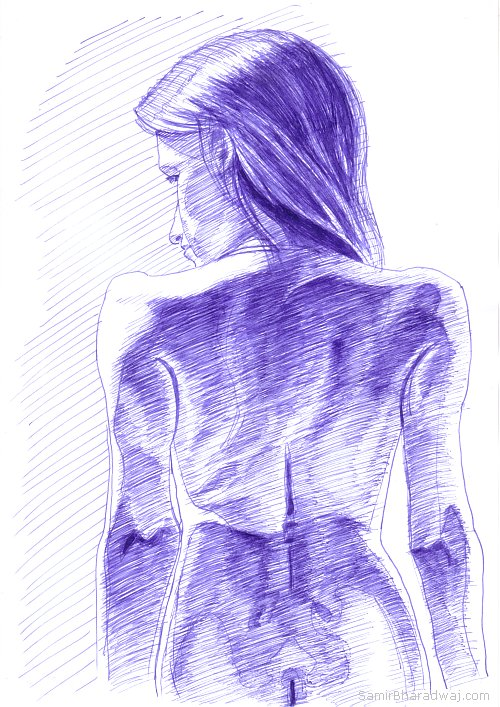 Pen Drawings - Woman's back