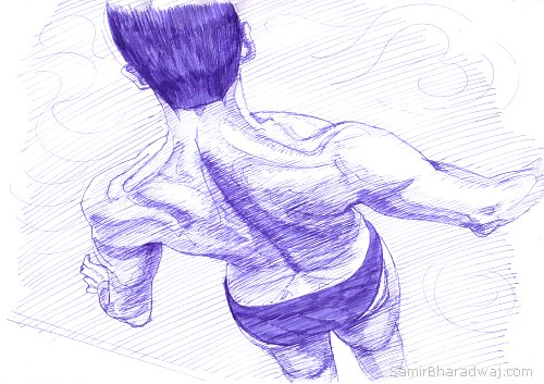 Pen Drawings - Muscular back of a man in swim briefs