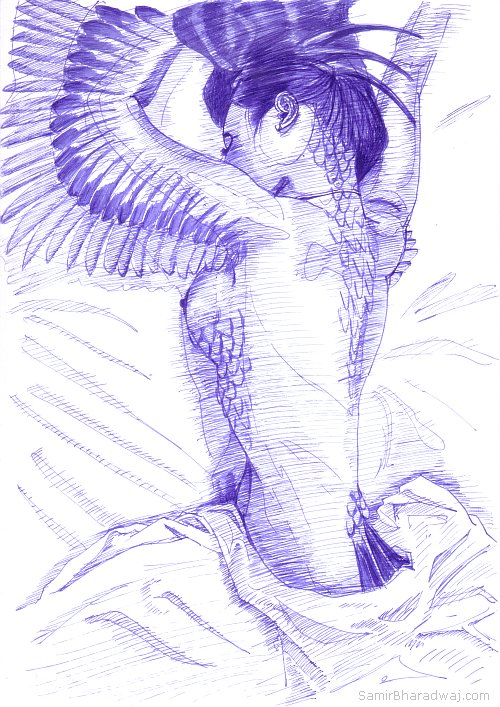 Pen Drawings - Nude woman transforming into an eagle