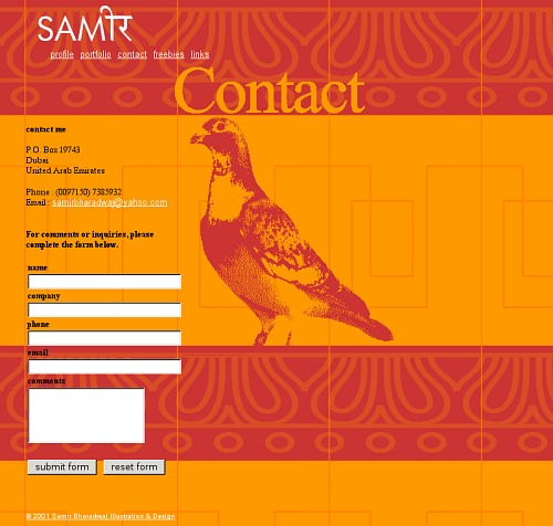 Static contact page 2001 - Website Redesign