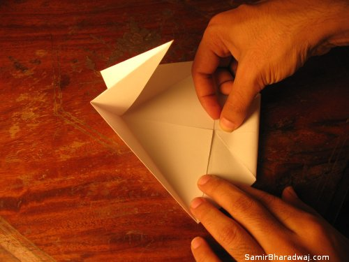 Creasing and folding an origami Diwali lamp - step 10