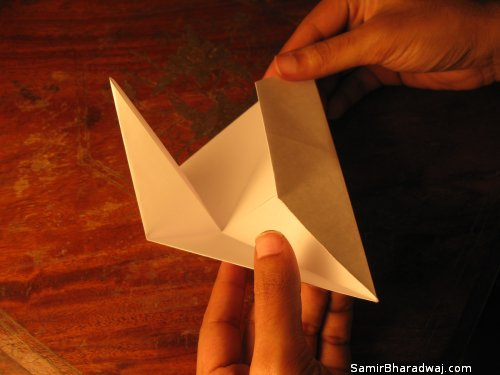 Creasing and folding an origami Diwali lamp - step 11