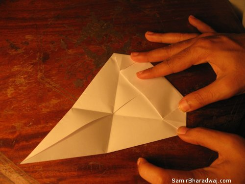 Creasing and folding an origami Diwali lamp - step 14