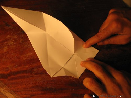 Creasing and folding an origami Diwali lamp - step 15