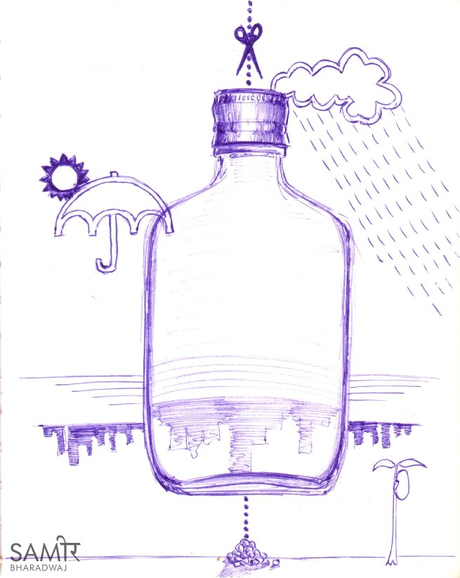 Abstract bottle illustration - Ballpoint pen drawing