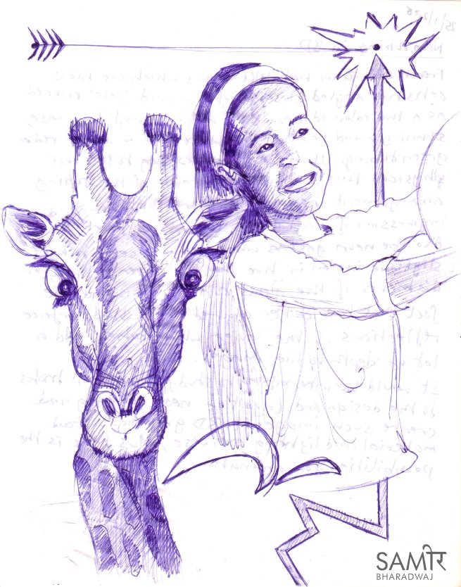 Wide-eyes giraffes and little girls - Ballpoint pen drawing