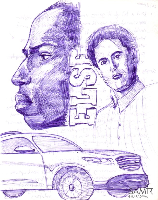 Portraits, profiles and cars - Ballpoint pen drawing