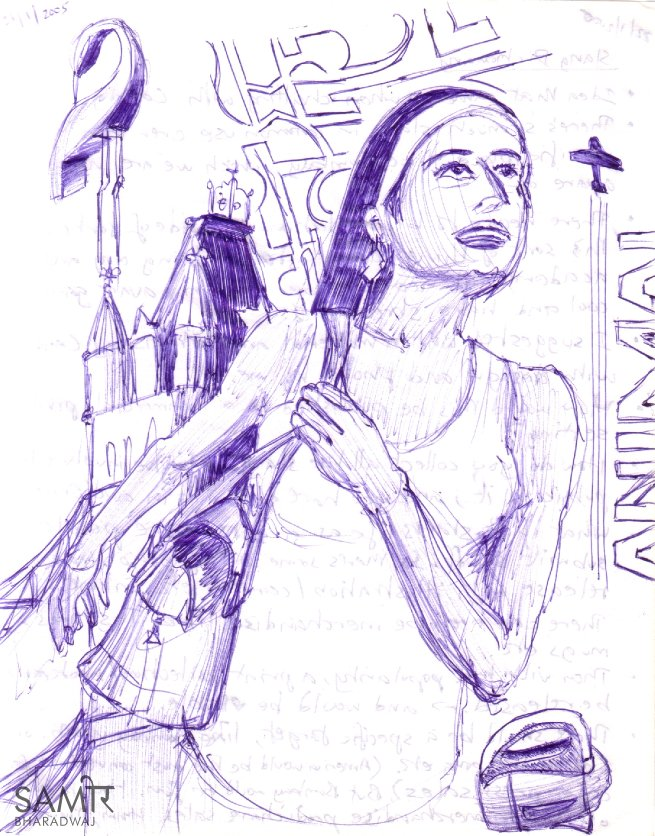 Woman with handbag, London Bridge & bird ornament - Ballpoint pen drawing