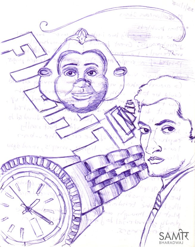 Wrist watch and male portrait - Ballpoint pen drawing