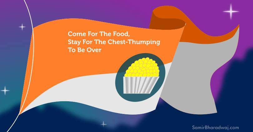 Fluttering flag with an icon symbolising a laddu - Come For The Food, Stay For the Chest-Thumping To Be Over