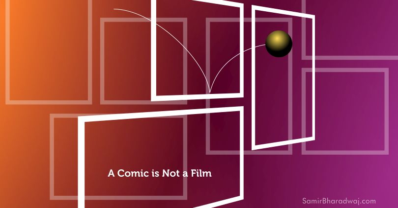 Sphere bounces through floating comic panels - A Comic is Not a Film