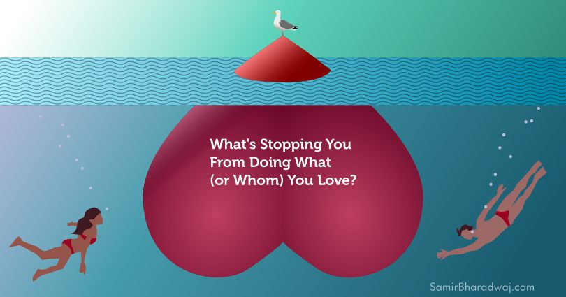 A couple dive towards a large submerged heart that's poking out of the sea with a seagull perched on it - What's Stopping You From Doing What (or Whom) You Love?