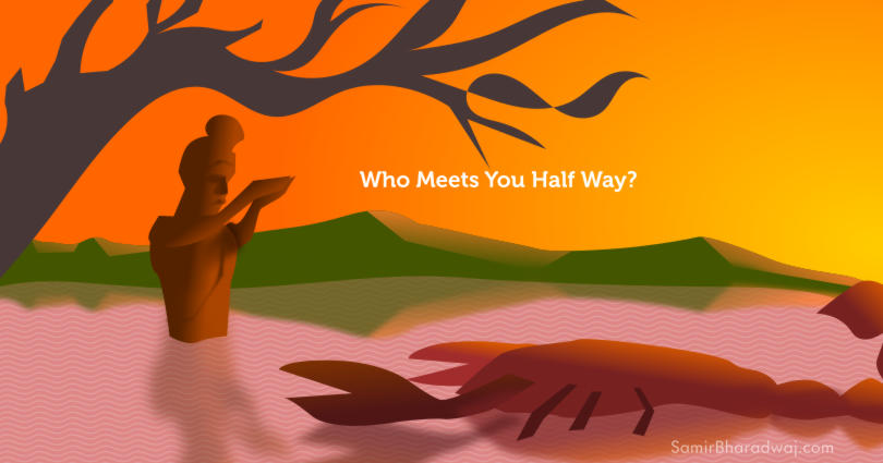 A holy man and a scorpion in a pond - Who Meets You Half Way?