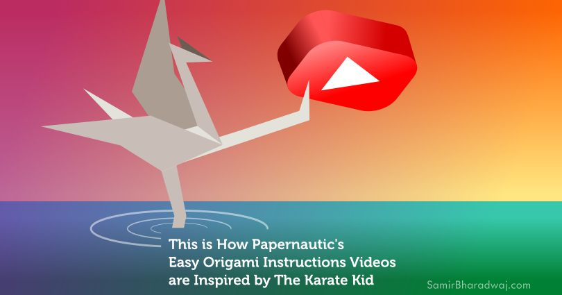 Origami crane karate kicking a YouTube logo - This is How Papernautic's Easy Origami Instructions Videos are Inspired by The Karate Kid