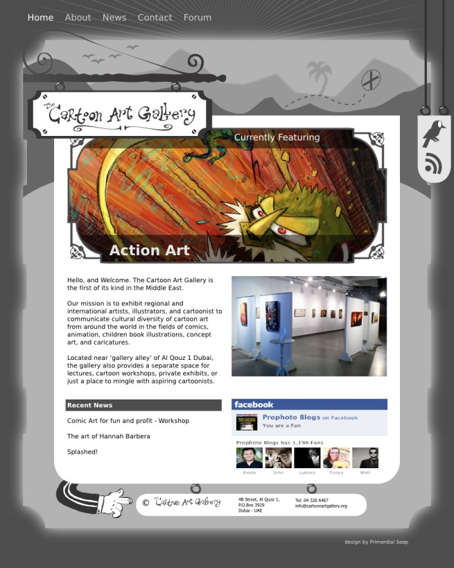 The Cartoon Art Gallery - WordPress site homepage layout and graphics
